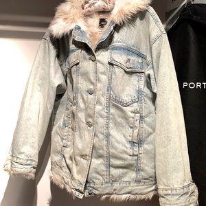 BDG Denim Faux Fur Lined Jacket Bleached Blue